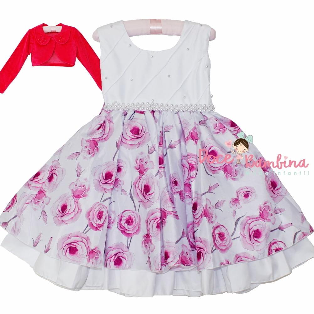 Vestido Infantil Floral Rosas + Brinde