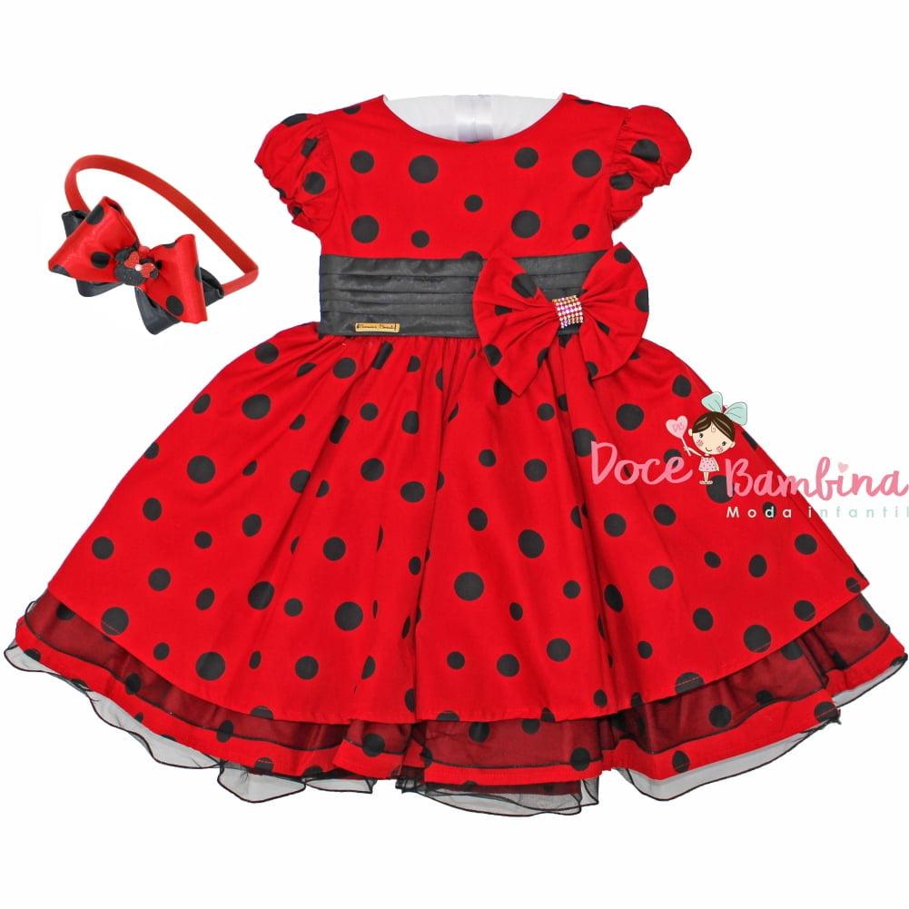 Vestido Infantil Minnie Vermelho e Preto