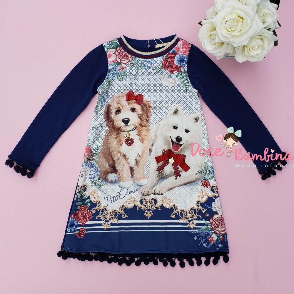Vestido Petit Cherie Casual Cachorrinhas de Laço
