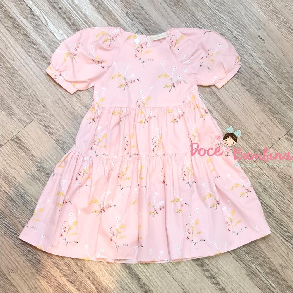 Vestido Petit Cherie Natural de Tricoline Floral Rosa