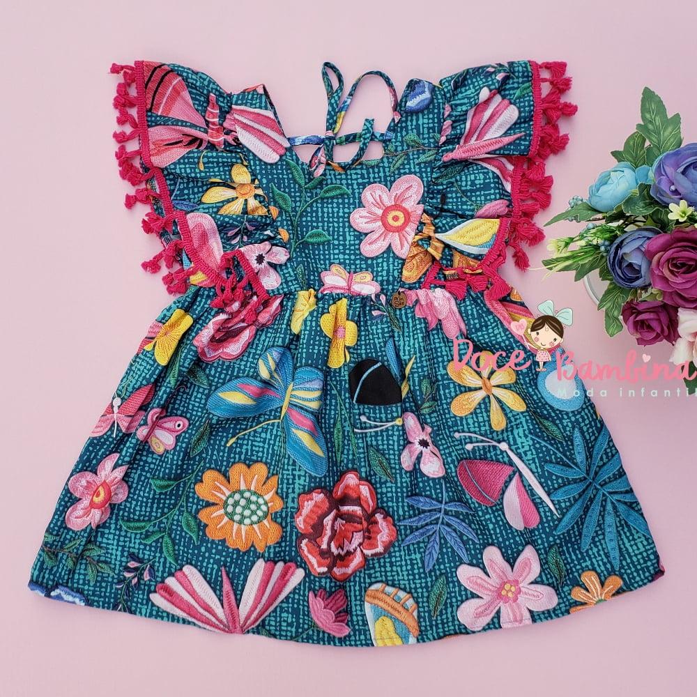 Vestido Mon Sucré Flores e Libélulas