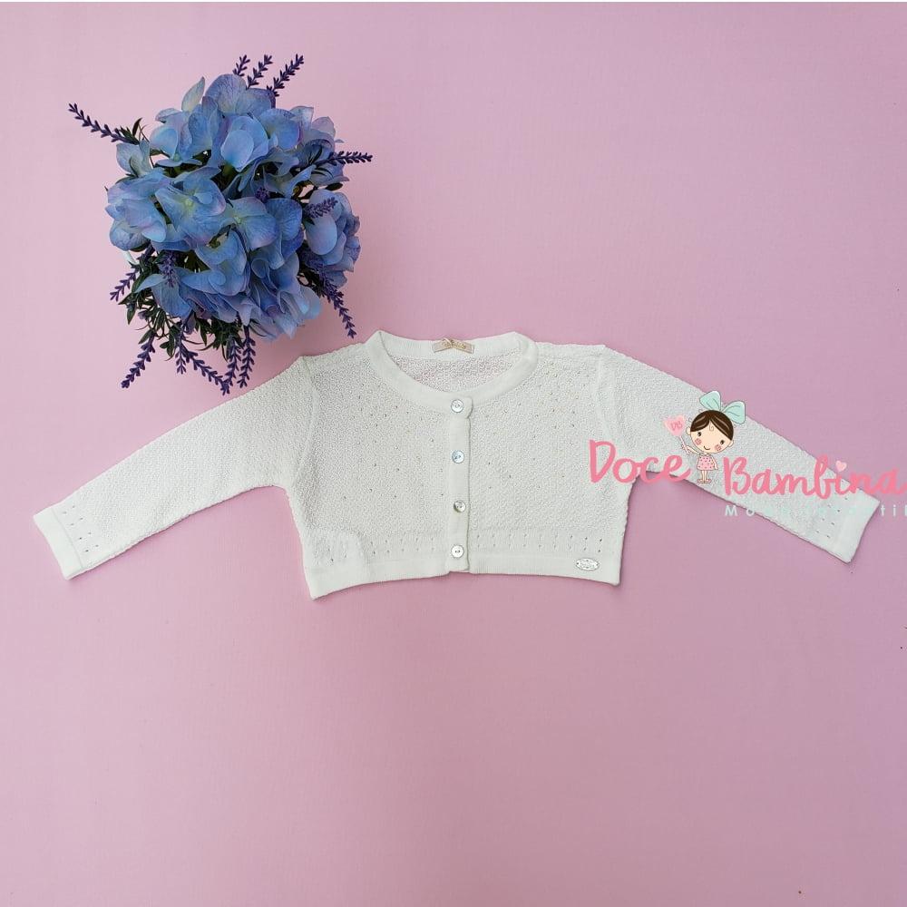 Bolero Petit Cherie Bebê de Tricô Branco com Cristais