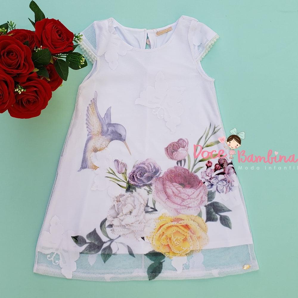 Vestido Petit Cherie Casual Beija Flor no Jardim