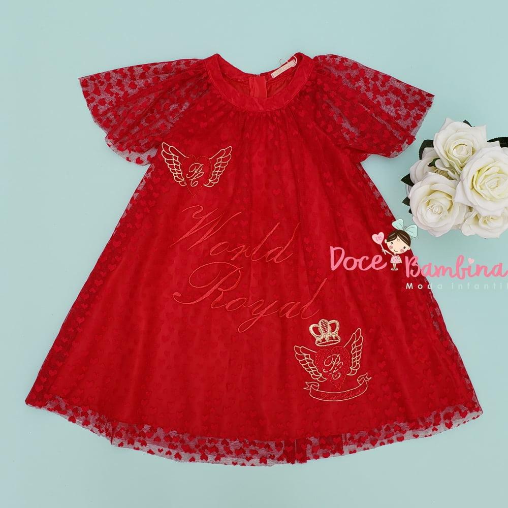 Vestido Petit Cherie Casual Tule Vermelho Corações