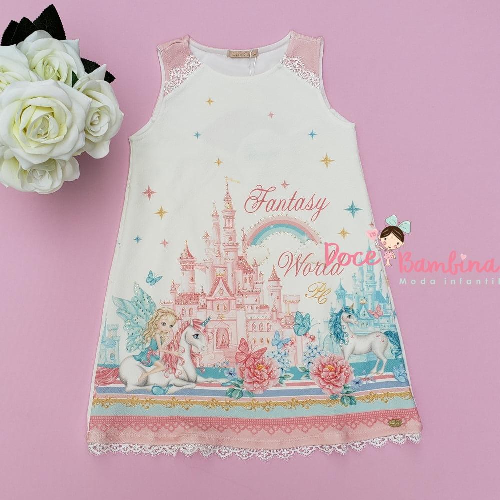 Vestido Petit Cherie Casual Unicornio Mundo da Fantasia