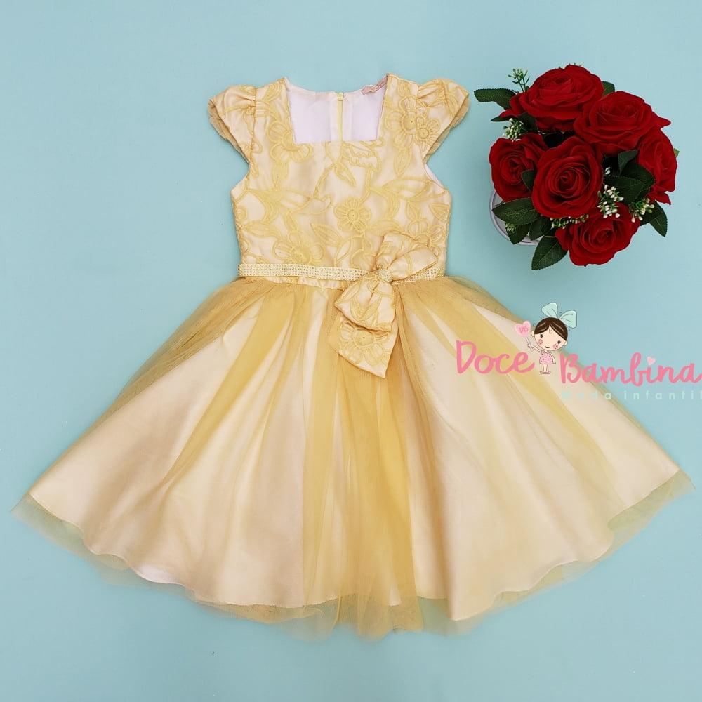 Vestido Petit Cherie de Festa Amarelo Realeza