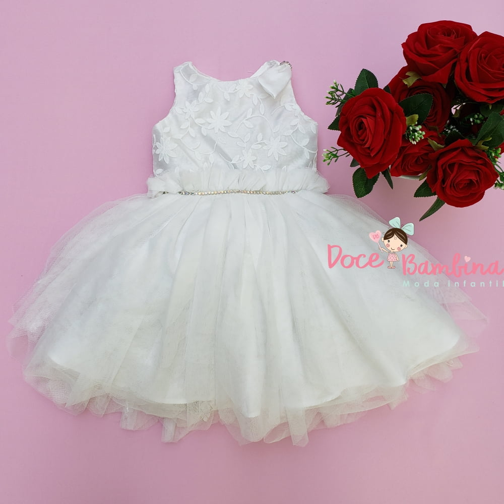 Vestido Petit Cherie de Festa Branco Bordado Saia Tule