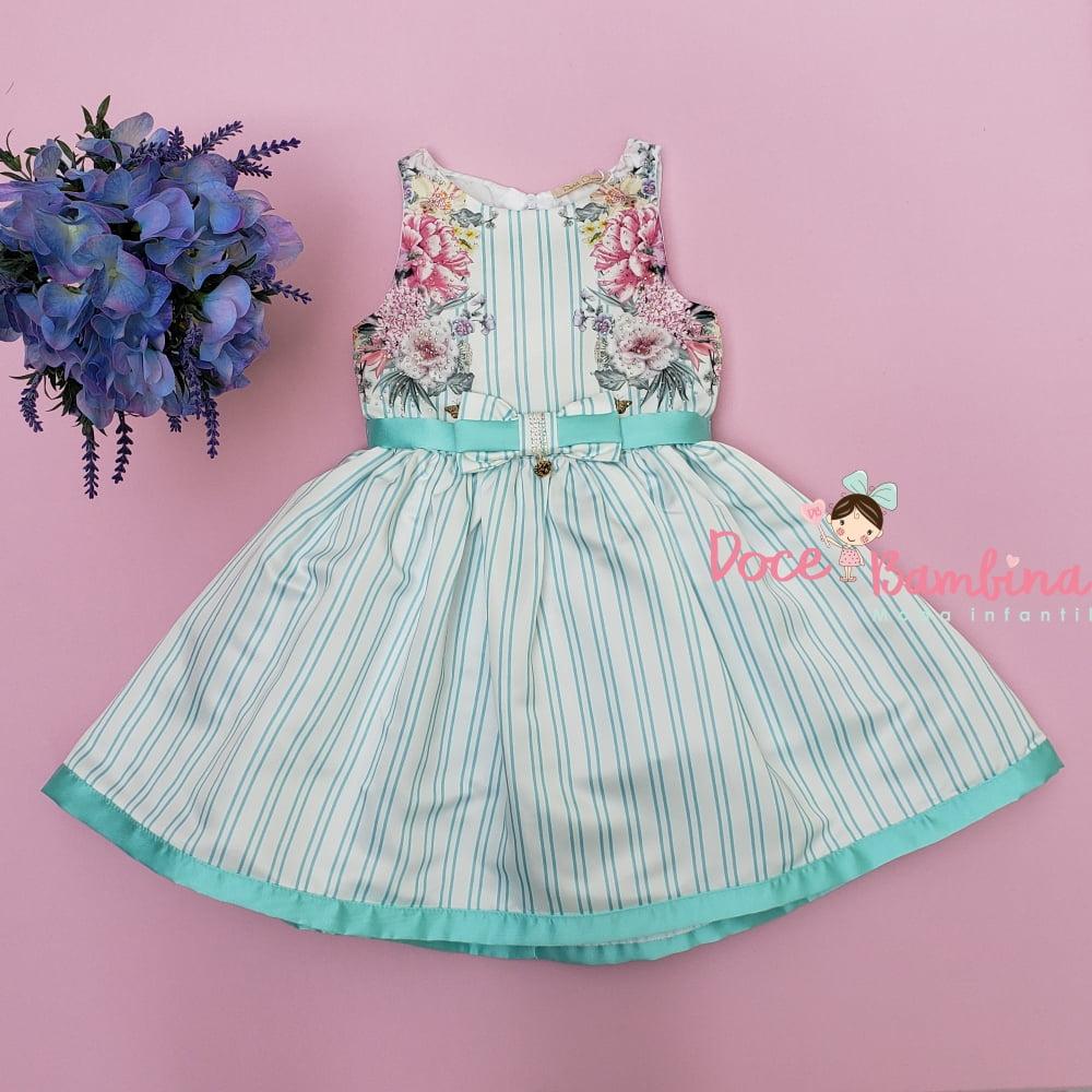 Vestido Petit Cherie de Festa Flores e Listras Verde Tiffany