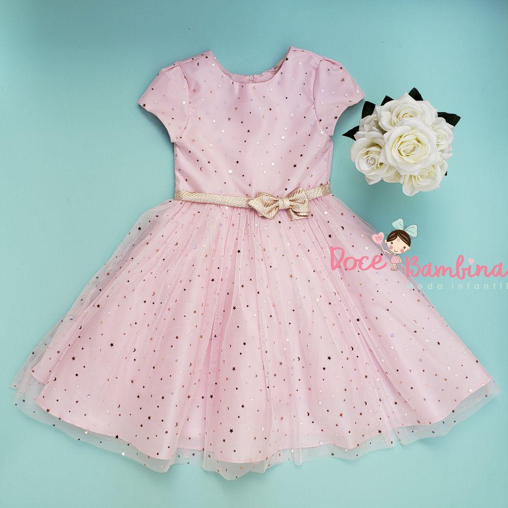 Vestido Petit Cherie de Festa Kids Tule Rosa Encanto