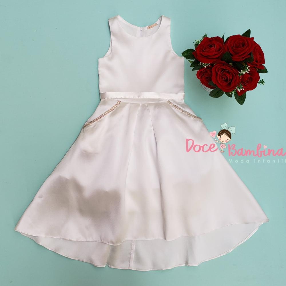 Vestido Petit Cherie de Festa Mullet Off White