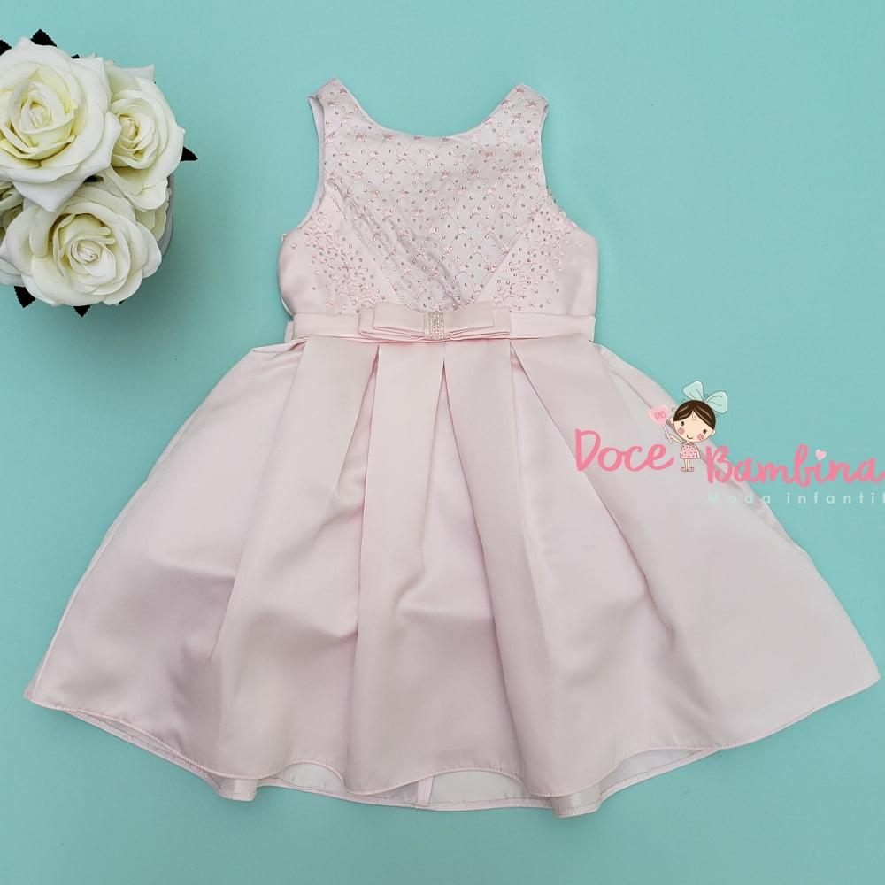 Vestido Petit Cherie de Festa Rosa Claro Bordado Estrelinhas