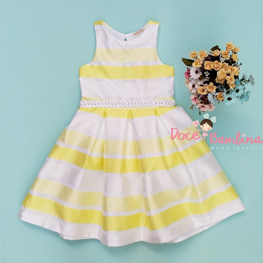 Vestido Petit Cherie de Festa Verão Listras Amarelas