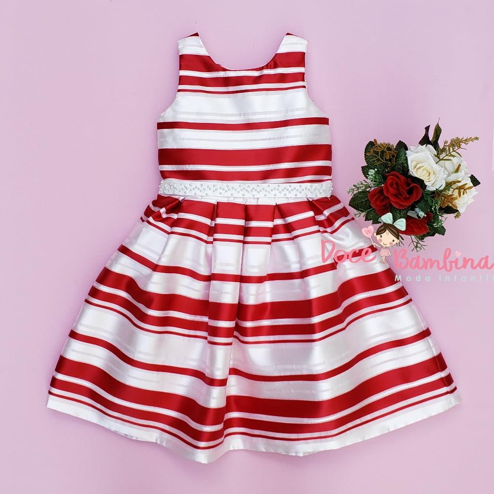 Vestido Petit Cherie de Festa Verão Listras Vermelhas